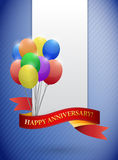 Happy anniversary balloons cards. Illustration design over a purple background Stock Photo