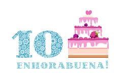 Anniversary greetings, 10 years, berry cake, Spanish, white, blue, vector. Happy anniversary. Big berry cake and the number 10 on a white background. The stock illustration