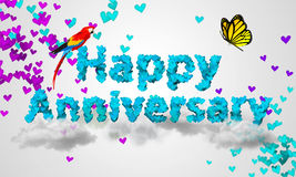 Happy Anniversary Blue Heart Shape 3D Royalty Free Stock Images
