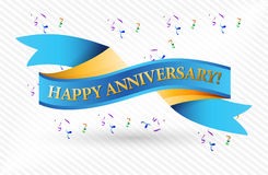 Happy anniversary blue ribbon illustration Royalty Free Stock Images