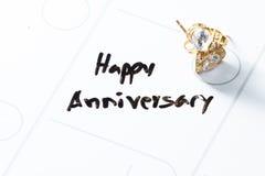 Happy anniversary on a calendar Royalty Free Stock Photos
