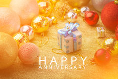 Happy anniversary card with golden style. Happy anniversary card with golden color style Royalty Free Stock Photography