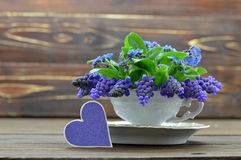 Happy Anniversary card with heart and violets. Fathers Day and Mothers Day card with flowers in the vintage cup on wooden background Stock Images