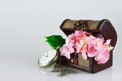 Happy Anniversary card with hydrangea flowers in treasure chest. Happy Anniversary card with pink hydrangea flowers in treasure chest Royalty Free Stock Photos