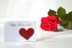 Happy anniversary card and a rose Royalty Free Stock Photography