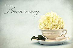 Happy Anniversary card. Snowball flower in vintage tea cup stock photo