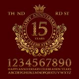 Happy anniversary celebration sign kit. Golden numbers, alphabet, frame and some words for creating congratulatory emblems.  royalty free illustration