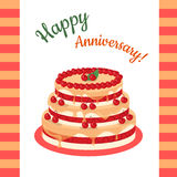 Happy Anniversary Cherry Pie Multi Level. Happy anniversary cherry pie Illustration. Multi level cake in flat style. Flat design. Home baking. Tasty sweet fruit Royalty Free Stock Images