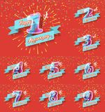 Happy anniversary congratulation cards pack Royalty Free Stock Photo