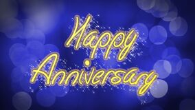 Happy Anniversary creative congratulation message, celebration, blue background. Stock footage stock video footage