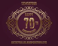 Happy anniversary emblem kit. Golden numbers, alphabet, and patterned frame for creating a memorable sign stock illustration