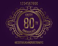 Happy anniversary emblem kit. Golden numbers, alphabet, and patterned frame for creating a memorable sign vector illustration