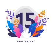 Happy Anniversary - fantasy leaves background with number, concept of celebration, birthday, event banner design stock illustration
