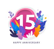 Happy Anniversary - fantasy leaves background with number, concept of celebration, birthday, event banner design vector illustration