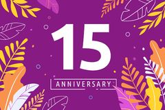 Happy Anniversary - fantasy leaves background with number, concept of celebration, birthday, event banner design royalty free illustration