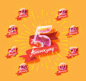 Happy anniversary glass bulb numbers set Royalty Free Stock Photography