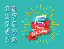 Happy anniversary glass bulb numbers set Stock Images