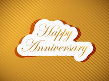 Happy anniversary gold sign illustration design Royalty Free Stock Photos