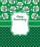 Happy anniversary Greeting Card in green Dominate color. Anniversary greeting card in floral design ornament or book covering in green dominate color Stock Images