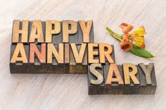 Happy Anniversary greeting card. Word abstract in vintage letterpress wood type Royalty Free Stock Photo