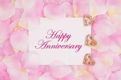 Happy Anniversary greeting card with hearts royalty free stock images