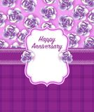 Happy anniversary Greeting Card in Purple Dominate colour stock photo