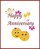 Happy Anniversary Greeting Card with Smiley Themes Royalty Free Stock Photo