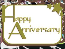 Happy anniversary greeting card with stars Royalty Free Stock Image