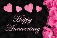 Happy Anniversary greeting with pink roses stock images