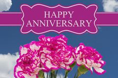 Happy Anniversary Greeting with a Pink and White Peony Bouquet royalty free illustration