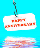 Happy Anniversary On Hook Displays Romantic Celebration Or Remem Stock Image
