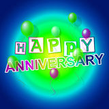 Happy Anniversary Indicates Congratulating Cheerful And Celebration. Happy Anniversary Meaning Celebrate Joy And Message Stock Photos
