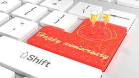 Happy anniversary keyboard with glitter and champagne Royalty Free Stock Photo