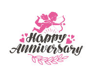 Happy Anniversary. Label with beautiful lettering, calligraphy. Vector illustration Royalty Free Stock Image