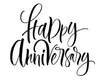 Happy Anniversary Lettering. Handwritten modern calligraphy, brush painted letters. Vector illustration. Template for greeting card, poster, logo, badge, icon royalty free illustration