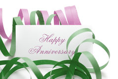 Happy anniversary message on a card Stock Photography