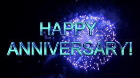 HAPPY ANNIVERSARY message with fireworks. Celebrate.