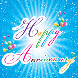 Happy Anniversary with Multicolored balloons, colorful star on blue background. Happy Anniversary card. Stock Photography