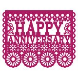 Happy Anniversary Papel Picado vector design - purple greeting card, Mexican folk art paper banner Stock Images