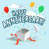 Happy anniversary party card template with colorful balloons, open gift and ribbons vector illustration