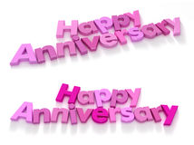 Happy anniversary in pink shades two choices stock illustration