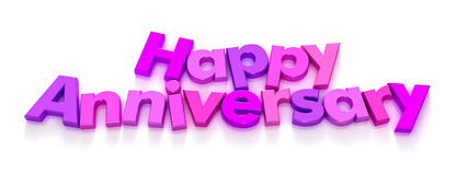 Happy Anniversary in purple and pink letter magnet. S on a neutral background Stock Photos