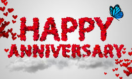 Happy Anniversary Red Heart Shape 3D Stock Photography
