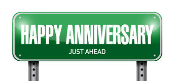 Happy anniversary road sign illustration design Stock Photography