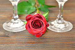 Happy Anniversary: Rose and wine glasses on wooden background. Happy Anniversary: Rose and wine glasses Stock Image