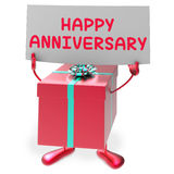 Happy Anniversary Sign and Gift Shows Cheerful Stock Photography