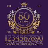 Happy anniversary sign kit. Golden numbers, alphabet, frame and some words for creating celebration emblems.  stock illustration