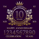 Happy Anniversary sign kit. Golden numbers, frame and some words for creating celebration emblems.  vector illustration