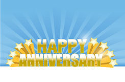 Happy anniversary stars card. Illustration design over a blue background Stock Photography