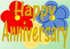 Happy Anniversary on three large flowers Stock Images